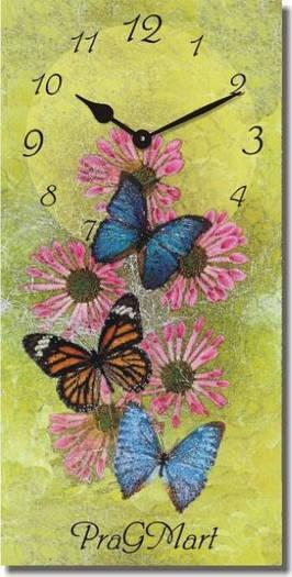 """Часы настенные """"Бабочки на цветах"""" (225х450мм) [Стекло, Открытые]"""