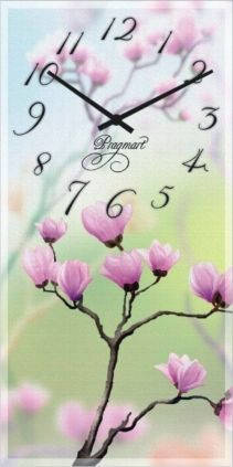 """Часы настенные """"Сакура весной"""" (225х450мм) [Стекло, Открытые]"""
