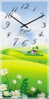 """Часы настенные """"Дом среди полей"""" (225х450мм) [Стекло, Открытые]"""
