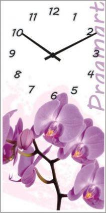 """Часы настенные """"Сиреневая орхидея"""" (225х450мм) [Стекло, Открытые]"""