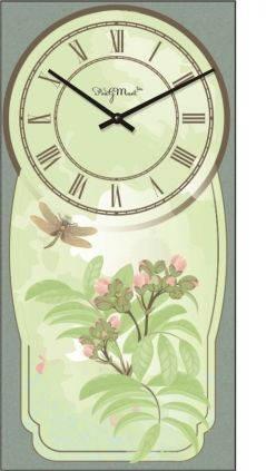 """Часы настенные """"Прованс - Стрекоза и цветы"""" (225х450мм) [Стекло, Открытые]"""