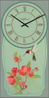 """Настенные часы в стиле прованс """"Колибри и цветы"""" (225х450мм) [Стекло, Открытые]"""