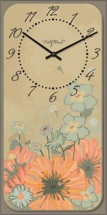"Часы настенные ""Прованс - Цветы"" (225х450мм) [Стекло, Открытые]"