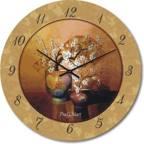 """Большие настенные часы """"Натюрморт с вазами"""" (450мм) [Стекло, Открытые]"""