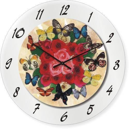 """Большие настенные часы """"Бабочки и розы"""" (450мм) [Стекло, Открытые]"""