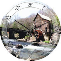 """Часы настенные """"Мельница на горной речке"""" (350мм) [Стекло, Открытые]"""