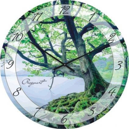 """Часы настенные """"Дерево над водой"""" (450мм) [Стекло, Открытые]"""