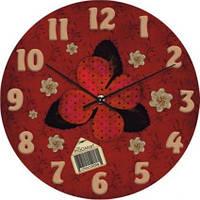 """Часы настенные """"Цветочная аппликация"""" (300мм) [Стекло, Открытые]"""