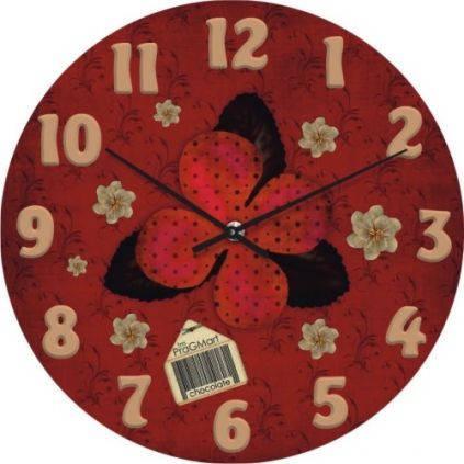 """Большие настенные часы """"Цветочная аппликация"""" (450мм) [Стекло, Открытые]"""
