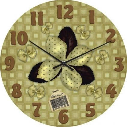 """Большие настенные часы """"Бантовая аппликация"""" (450мм) [Стекло, Открытые]"""