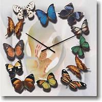 """Большие настенные часы """"Хоровод бабочек"""" (450мм) [Стекло, Открытые]"""