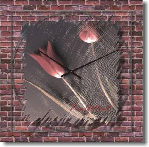 """Большие настенные часы """"Тюльпаны на стене"""" (450мм) [Стекло, Открытые]"""