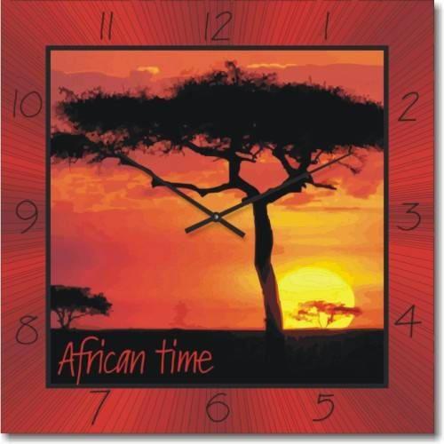 """Часы настенные """"Африканский Пейзаж"""" (450мм) [Стекло, Открытые]"""