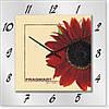 """Большие настенные часы """"Красная гербера"""" (450мм) [Стекло, Открытые]"""