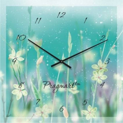 """Большие настенные часы """"Полевые цветы"""" (450мм) [Стекло, Открытые]"""