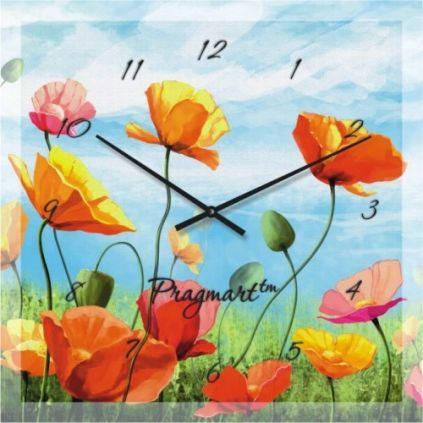 """Большие настенные часы """"Маки на фоне неба"""" (450мм) [Стекло, Открытые]"""