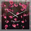 """Часы настенные """"Розовое на черном"""" (300мм) [Стекло, Открытые]"""
