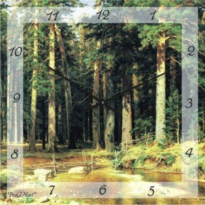 "Часы настенные ""Хвойный лес"" (300мм) [Стекло, Открытые]"