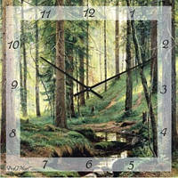 """Часы настенные """"Сосновый бор"""" (300мм) [Стекло, Открытые]"""