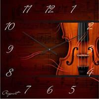 """Часы настенные """"Скрипка и музыка"""" (300мм) [Стекло, Открытые]"""