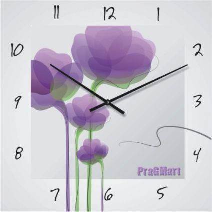 """Большие настенные часы """"Стилизованные цветы"""" (450мм) [Стекло, Открытые]"""