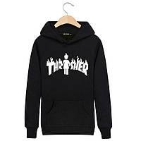 Худи Thrasher & Girl черное с белым логотипом, унисекс (мужское,женское,детское)