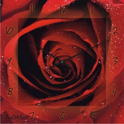 """Большие настенные часы """"Алая роза"""" (450мм) [Стекло, Открытые]"""
