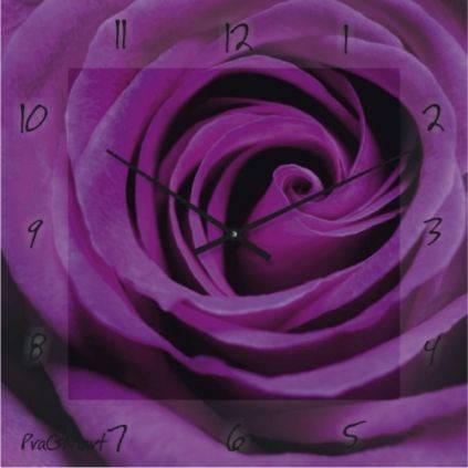 """Большие настенные часы """"Фиолетовая роза"""" (450мм) [Стекло, Открытые]"""