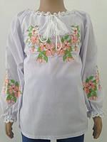 Блузка, украинская вышиванка льняная Роксолана для девочки белая