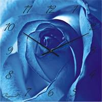 """Большие настенные часы """"Голубая роза"""" (450мм) [Стекло]"""