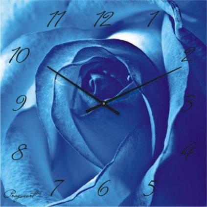 """Большие настенные часы """"Голубая роза"""" (450мм) [Стекло, Открытые]"""