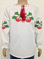 Блузка, украинская вышиванка льняная Забава для девочки белая