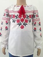 Блузка, украинская вышиванка льняная Ярина для девочки белая