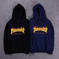 Худи Thrasher Flame черное,темно-синее, унисекс (мужское,женское,детское)