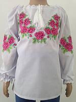 Блузка, украинская вышиванка льняная Лилея для девочки белая