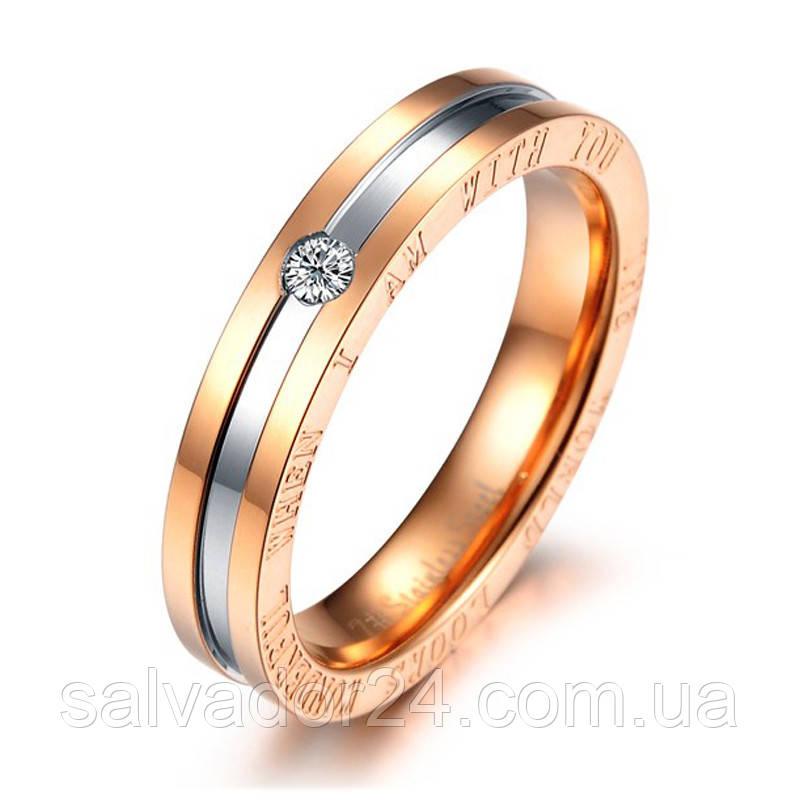 Позолоченное кольцо с фианитом 18 размер