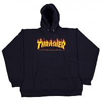 Худи Thrasher Flame черное с лого, унисекс (мужское, женское, детское)