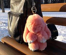 Меховой брелок (персиковый) на сумку в виде зайчика (Натуральный мех) 17 см