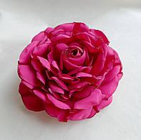 """Брошь из ткани ручной работы """"Малиновая роза"""""""