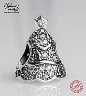"""Серебряная подвеска-шарм Пандора (Pandora) """"Мерцающая новогодняя елка"""" для браслета"""