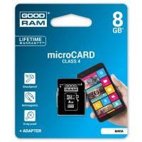Карта памяти GOODRAM microSDHC 8GB Class 4 // 6280521