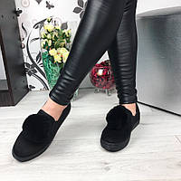 Женские слипоны, эко замша, черные / слипоны  женские 2017, модные