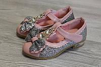 Фоилетовые детские туфли с бантиком и блестками