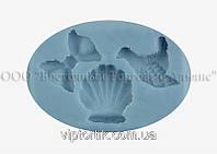 Силіконовий молд - Черепашка, голуб і бантик - 3,5х3,5 см