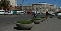 Вазон Олимп большой уличный по технологии мытый бетон