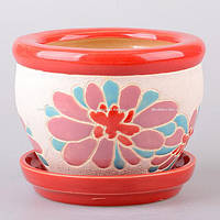 """Горшок для цветов керамический 17х13 см. """"Лотос"""" красный, круглый"""