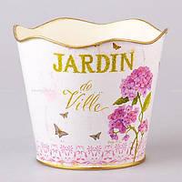 """Кашпо металлическое 22х22х19 см. """"Jardin de Ville Garden"""" розовое, круглое"""