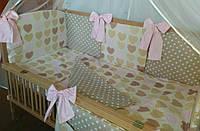 """Детская постель (7 ед.) """"Сердечка с горошком"""" цвет - бежевый с розовым- """"Сладкий сон"""""""