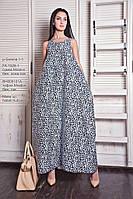 Платье  женское, темно-синее с рисунком цветы, весна, лето P-SERENA1-1