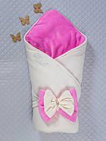 """Одеяло-конверт """"Бантик"""" кремовый с розовым, зима"""